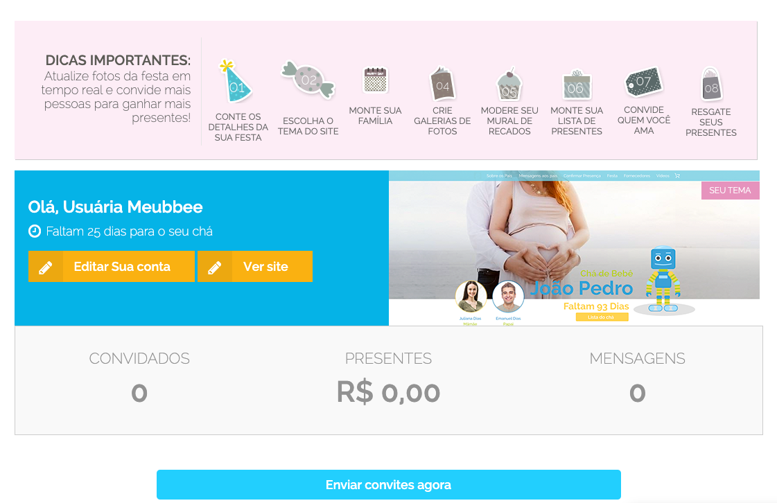 Painel do site Meubbee